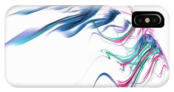 IPhone Case featuring the digital art Wing Of Beauty Art Abstract Blue by Don Northup