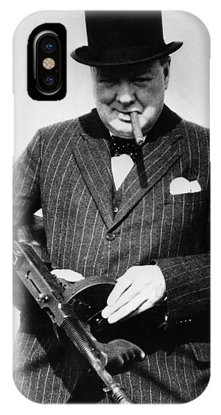 Prime Minister iPhone Case - Winston Churchill With Tommy Gun by English School