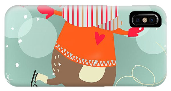 Winter Fun iPhone Case - Winter Cartoon Bear by Elena Barenbaum
