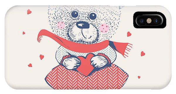 Winter Fun iPhone Case - Winter Girl Bearhand Drawn Vector by Eteri Davinski