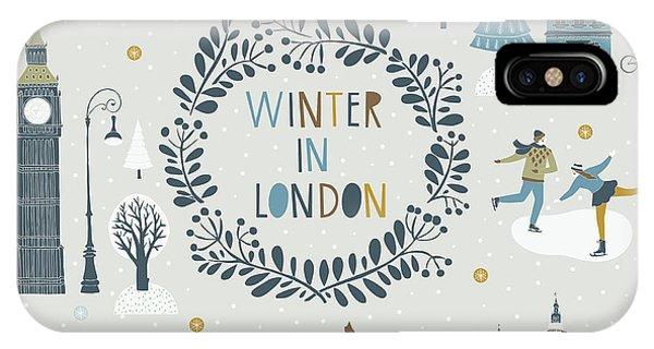 Winter Fun iPhone Case - Winter In London by Lavandaart