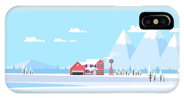 Freeze iPhone Case - Winter Landscape Background.  Flat by Droidworker
