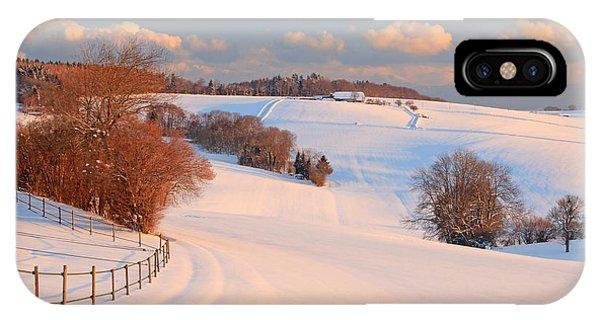 Background iPhone Case - Winter Landscape Near The Village Of by Pixelcruiser