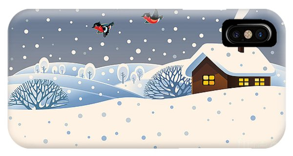 Ice iPhone Case - Winter Landscape With Country House And by Rustic