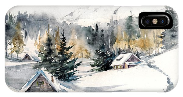 Freeze iPhone Case - Winter Landscape With Mountain Village by Deepgreen