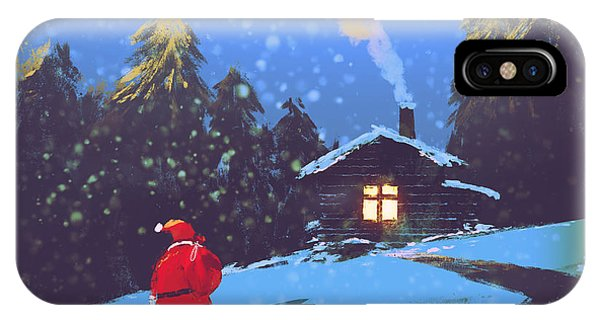 Santa Claus iPhone Case - Winter Landscape With Santa Claus And by Tithi Luadthong