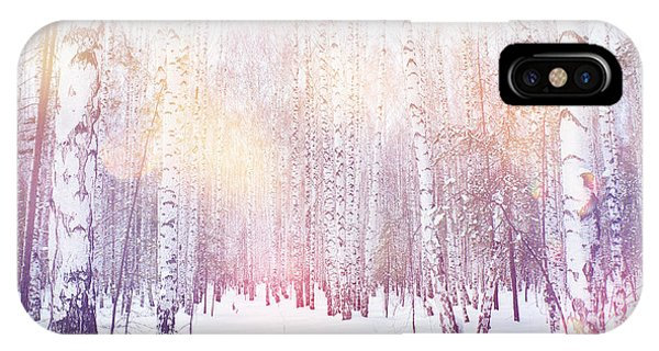 Fairy Tales iPhone Case - Winter Magic Birch Grove by Ataly