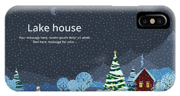 Space iPhone Case - Winter Night, House In The Mountains by Bukhavets Mikhail