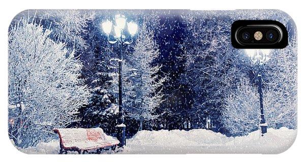 Park Bench iPhone Case - Winter Night Landscape Scene Of Snow by Marina Zezelina