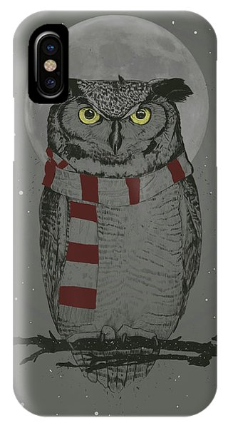Moon iPhone Case - Winter Owl by Balazs Solti