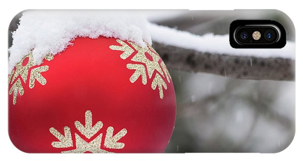 IPhone Case featuring the photograph Winter Scene - Red Christmas Ball Outside, With Snow On It by Cristina Stefan