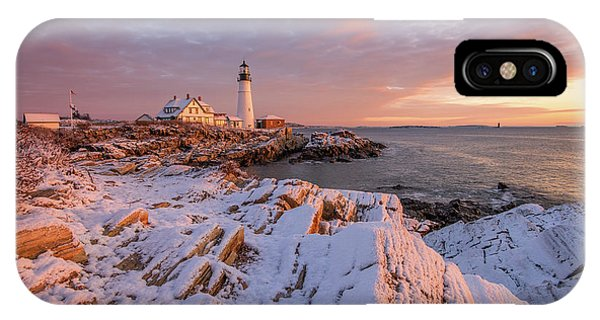 Winter Sunrise At Portland Head Light IPhone Case
