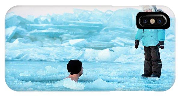 Horizontal iPhone Case - Winter Swimming by Levranii
