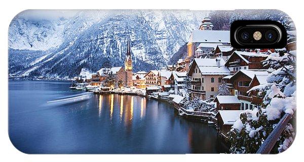Hotel iPhone Case - Winter View Of Hallstatt, Traditional by Dzerkach Viktar