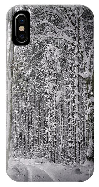 IPhone Case featuring the photograph Wintry Forest Track by Edmund Nagele