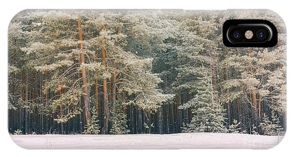 Background iPhone Case - Wintry Landscape Scenery With Flat by Supertrooper