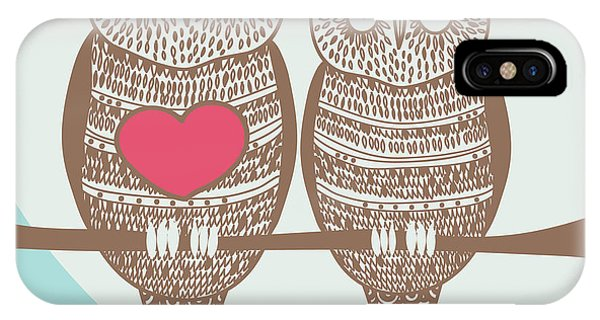 Romance iPhone Case - Wise Owl Couple On Tree Branch Under by Stopitnow