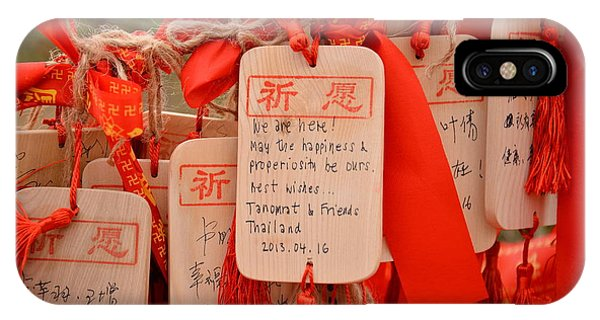 Spirituality iPhone Case - Wish Cards In A Buddhist Temple In by Praphat Rattanayanon