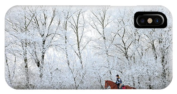 Purebred iPhone Case - Woman And Her Horse Cantering In Fresh by Horsemen