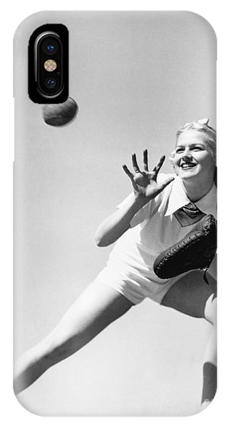 Reach iPhone Case - Woman Catching A Baseball by Everett Collection