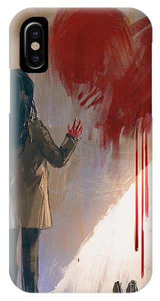 Death iPhone Case - Woman Drawing Red Heart With Blood On by Tithi Luadthong