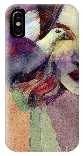 Peace iPhone Case - Woman Face And Pigeon. Hand Painted by Anna Ismagilova