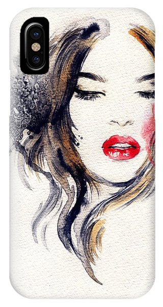 Lush iPhone Case - Woman Face. Hand Painted Fashion by Anna Ismagilova