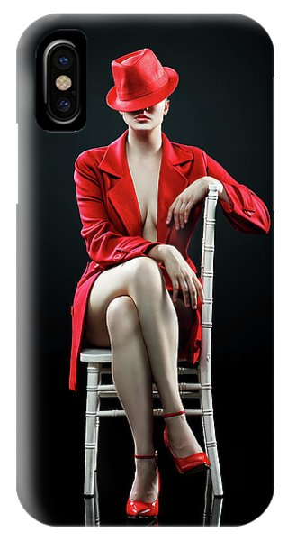 Lips iPhone Case - Woman In Red by Johan Swanepoel