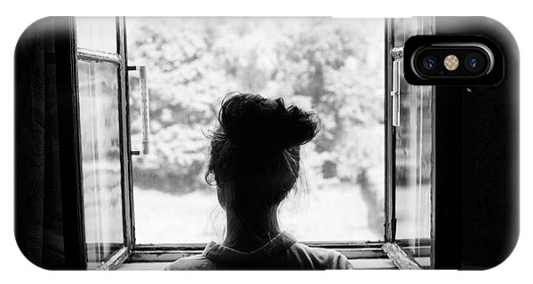 Young iPhone Case - Woman Looking Through The Old Window On by Jan Faukner