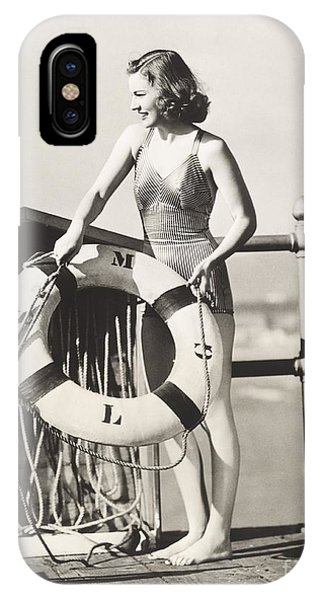 Adult iPhone Case - Woman On Pier Holding A Life Preserver by Everett Collection