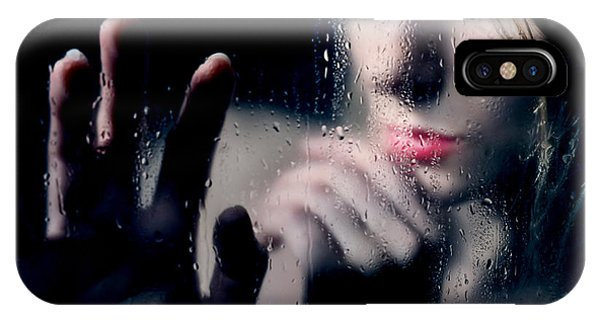 Woman Portrait Behind Glass With Rain Drops IPhone Case