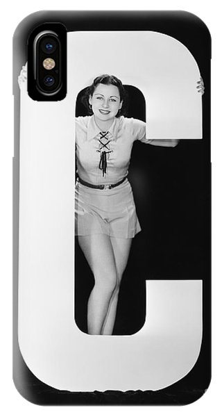 Woman Posing With Huge Letter C Phone Case by Everett Collection