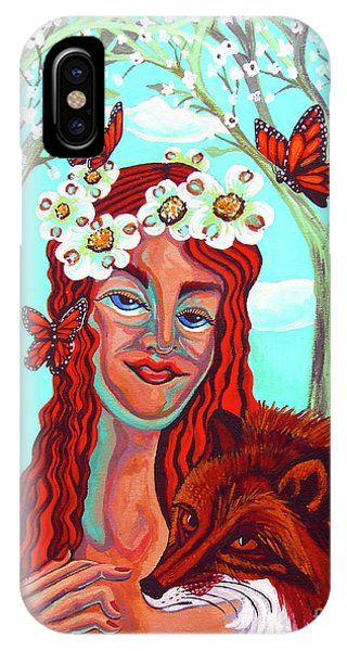 Cunning iPhone X Case - Woman With Red Fox And Butterflies by Genevieve Esson