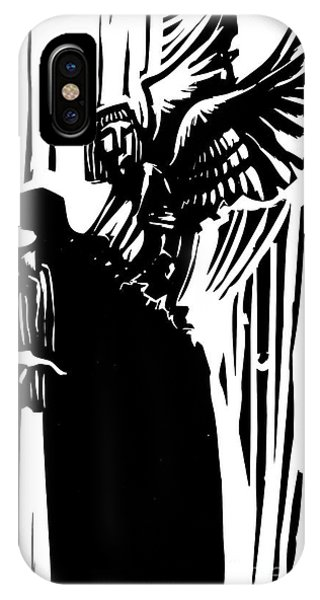 Death iPhone Case - Woodcut Expressionist Style Image Of A by Jef Thompson