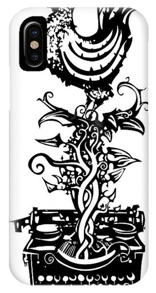 Crow iPhone Case - Woodcut Rooster Crowing Emerging From A by Jef Thompson