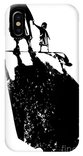 Shadow iPhone Case - Woodcut Style Expressionist Image Of An by Jef Thompson