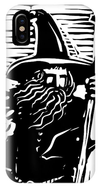 Celtics iPhone Case - Woodcut Style Image Of A Magical Wizard by Jef Thompson