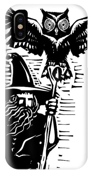 Celtics iPhone Case - Woodcut Style Image Of A Wizard Holding by Jef Thompson