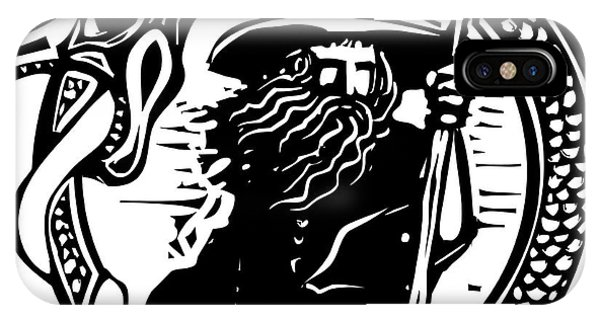 Staff iPhone Case - Woodcut Style Image Of A Wizard In A An by Jef Thompson