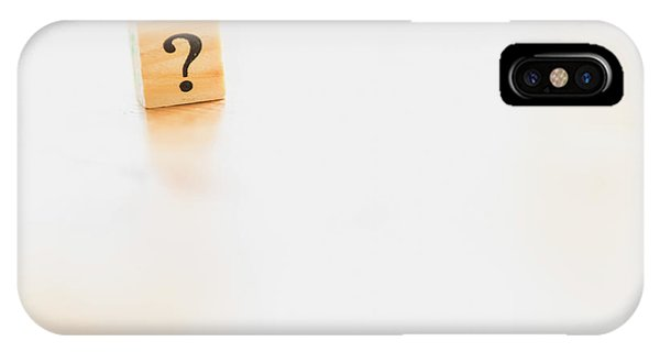 Wooden Dice With Question Mark And Doubt. IPhone Case