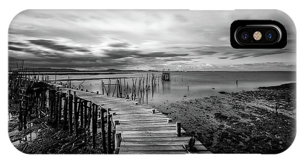 IPhone Case featuring the photograph Wooden Fishing Piers by Michalakis Ppalis