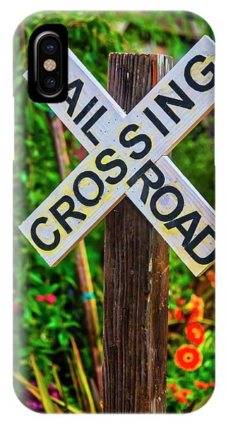 Railroad Station iPhone Case - Wooden Railroad Crossing Sign by Garry Gay