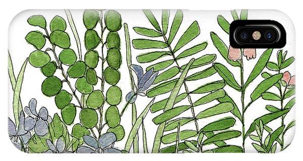 Woodland Ferns Violets Nature Illustration IPhone Case