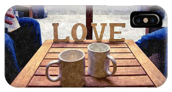 Word Love Next To Two Cups Of Coffee On A Table In A Cafeteria,  IPhone Case