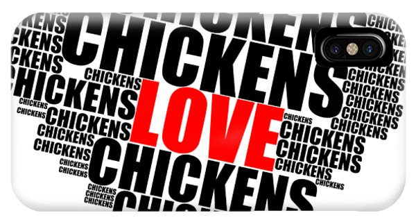 Wordcloud Love Chickens Black IPhone Case