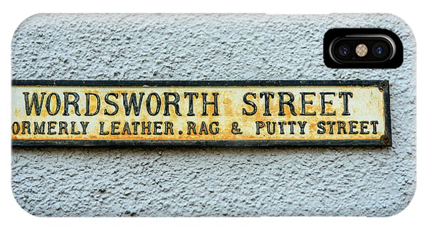 Street Sign iPhone Case - Wordsworth Street Sign by David Ridley