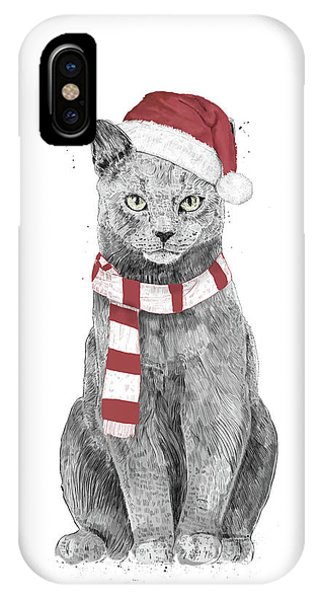 Winter iPhone Case - Xmas Cat by Balazs Solti