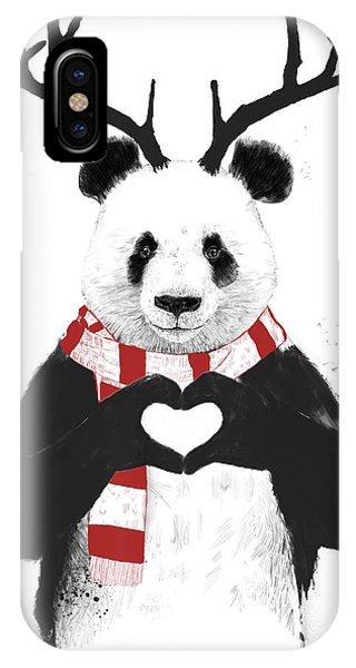 Illustration iPhone Case - Xmas Panda  by Balazs Solti