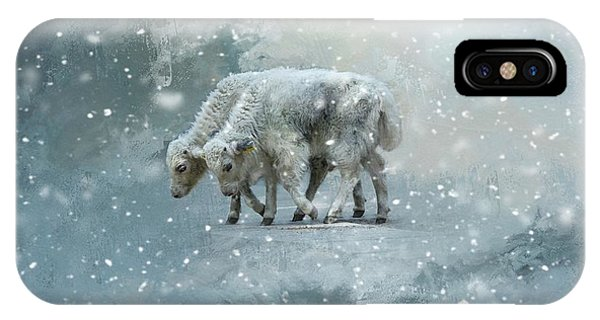 Yaks Calves In A Snowstorm IPhone Case
