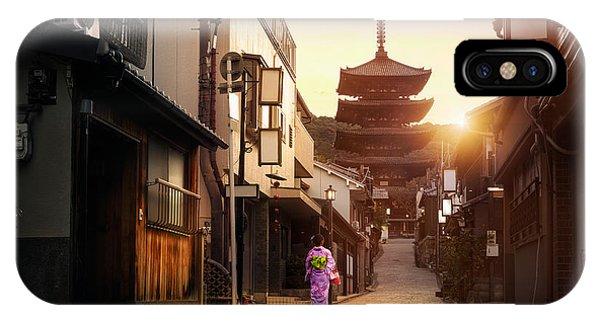 Old Building iPhone Case - Yasaka Pagoda And Sannen Zaka Street In by Patrick Foto